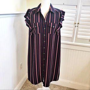 Motherhood Navy Striped Flutter Sleeve Shirt Dress